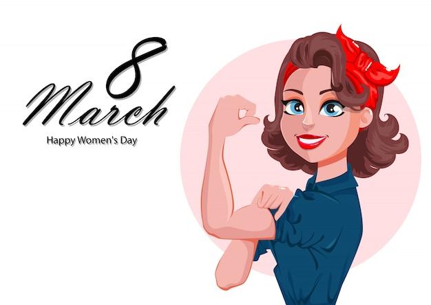 Carte de voeux pour le jour de la femme heureuse