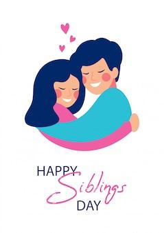 Carte de voeux pour le jour des frères et sœurs heureux