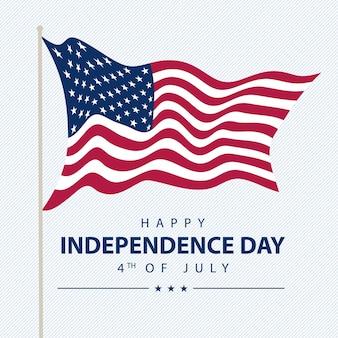 Carte de voeux pour le jour de l'indépendance des états-unis avec le drapeau national des états-unis.