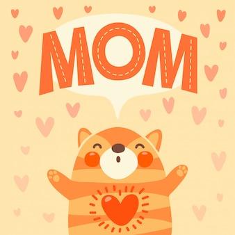 Carte de voeux pour maman avec chaton mignon.