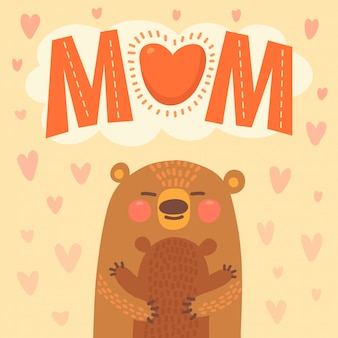 Carte de voeux pour la mère et son ourson.