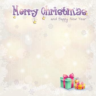 Carte de voeux pour noël et le nouvel an avec coffrets cadeaux
