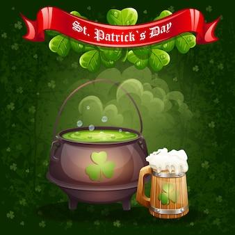Carte de voeux pour la saint-patrick avec une tasse