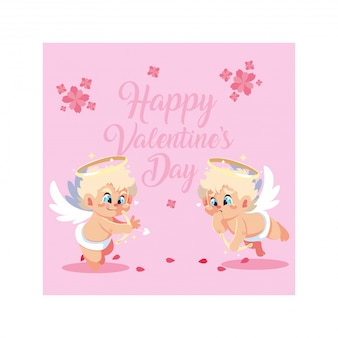 Carte de voeux pour la saint valentin, ange cupidon doux