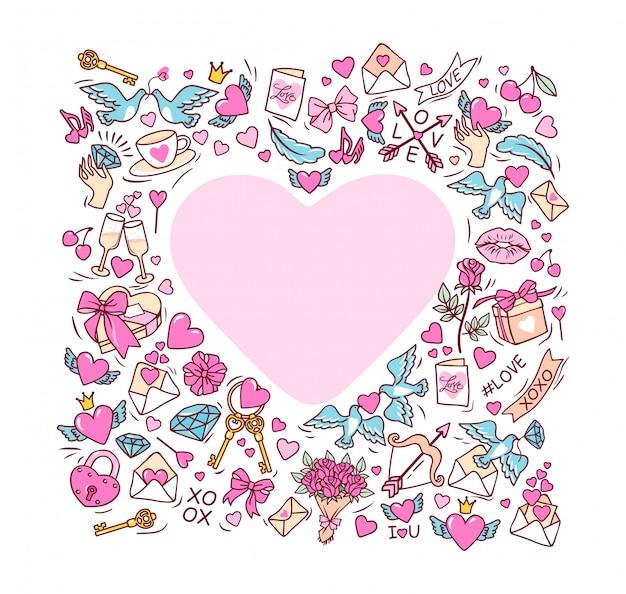 Carte de voeux pour la saint-valentin heureuse. cadre en forme de coeur.