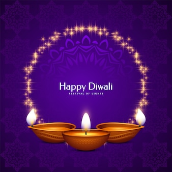 Carte de voeux pourpre joyeux festival diwali avec cadre et bougies