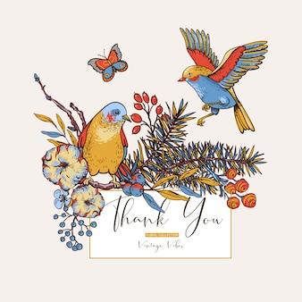 Carte de voeux printemps floral vintage avec oiseaux, branches de sapin, coton, fleurs et papillons
