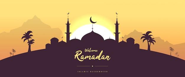 Carte de voeux ramadan bienvenue plat