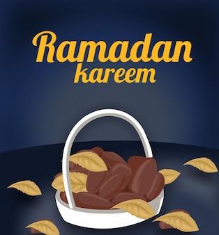 Carte de voeux ramadan iftar party avec dates dessinées à la main et nourriture islamique
