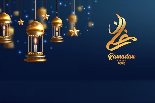 Carte de voeux ramadan kareem avec calligraphie arabe moderne et lampes dorées