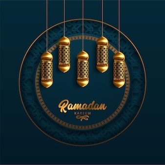 Carte de voeux ramadan kareem avec calligraphie arabe moderne et lampes