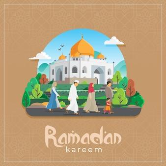 Carte de voeux ramadan kareem avec des gens qui marchent à la mosquée