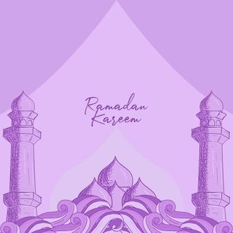Carte de voeux ramadan kareem avec illustration dessinée à la main de la mosquée