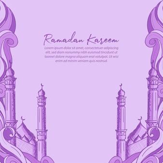 Carte de voeux ramadan kareem avec illustration dessinée à la main de l'ornement islamique