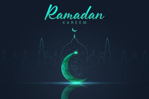 Carte de voeux ramadan kareem avec lune de cristal vert