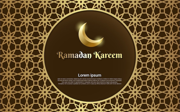 Carte de voeux ramadan kareem marron avec ligne de cadre or