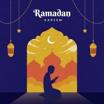 Carte de voeux ramadan kareem avec mosquée et silhouette homme priant