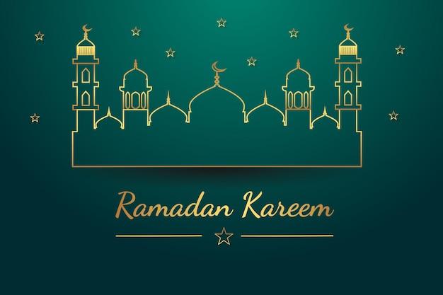 Carte de voeux ramadan kareem avec mosquée