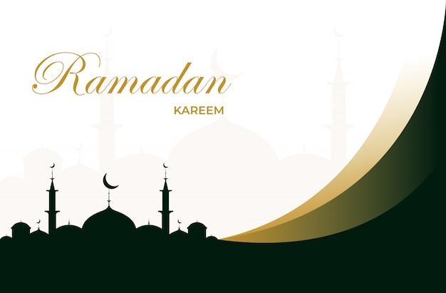 Carte de voeux ramadan kareem plat