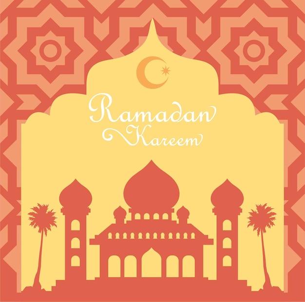Carte de voeux ramadan kareem avec silhouette de la mosquée