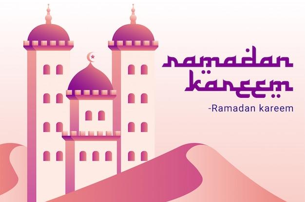 Carte de voeux ramadan avec mosquée violette