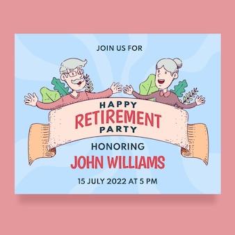 Carte de voeux de retraite créative dessinée à la main