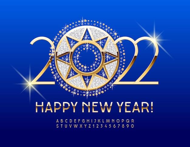 Carte de voeux riche en vecteur happy new year 2022 avec alphabet élégant de décoration brillante or
