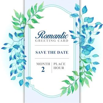 Carte de voeux romantique couleur bleu clair, feuilles bleues et vertes