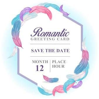 Carte de voeux romantique, plumes violettes, carte hexagonale