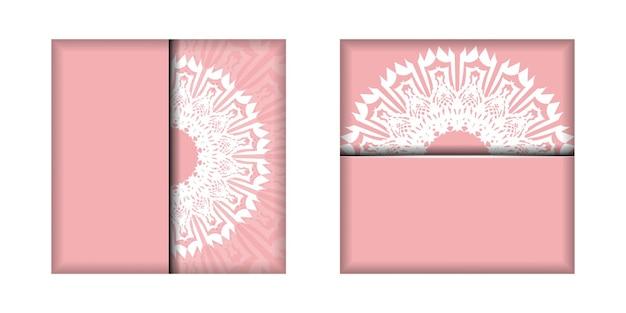Carte de voeux en rose avec de luxueux ornements blancs préparés pour la typographie.