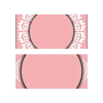 Carte de voeux en rose avec des ornements blancs luxueux pour votre conception.