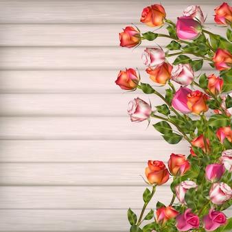 Carte de voeux avec des roses, peut être utilisée comme carte d'invitation pour mariage, anniversaire et autre fond de vacances et d'été. fichier inclus