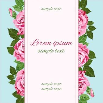 Carte de voeux de roses roses