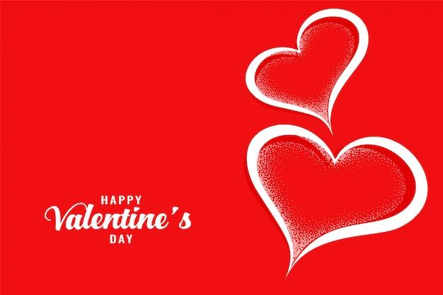 Carte de voeux rouge deux coeurs créatifs saint valentin