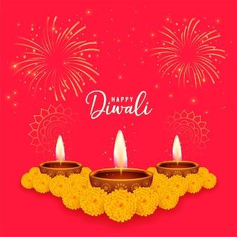Carte de voeux rouge joyeux diwali avec fleur de souci