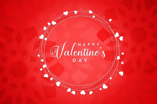 Carte de voeux rouge joyeux saint valentin coeurs cadre rouge