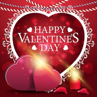 Carte de voeux rouge saint valentin avec deux coeurs