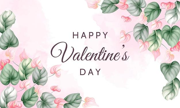 Carte de voeux saint valentin avec de belles fleurs