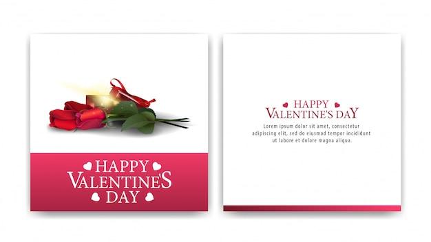 Carte de voeux saint valentin blanche avec cadeau et flowwers