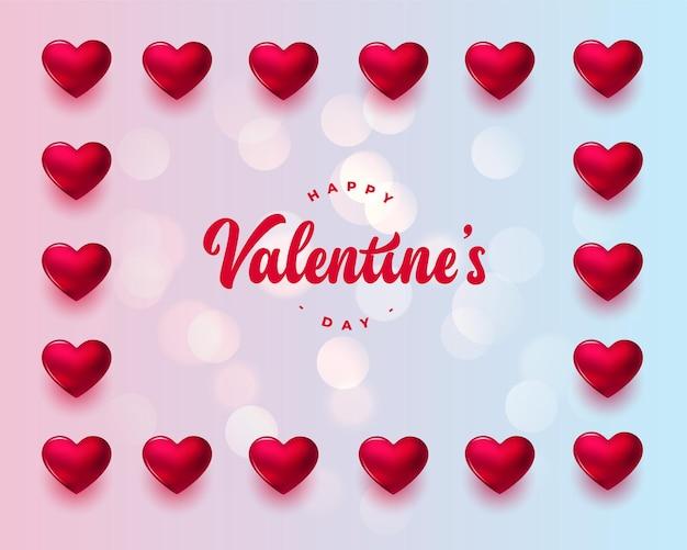 Carte de voeux saint valentin avec cadre coeurs