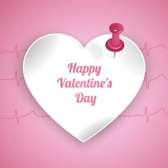 Carte de voeux saint valentin avec cadre en forme de coeur et fond rose
