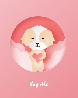 Carte de voeux saint valentin avec chien heureux et en forme de coeur dans un style papier découpé.