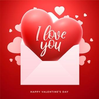 Carte de voeux saint valentin avec coeur rouge 3d et enveloppe de lettre d'amour