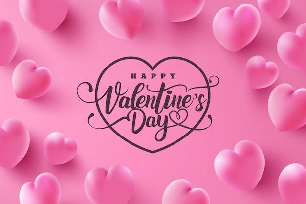 Carte de voeux saint valentin avec des coeurs doux sur rose