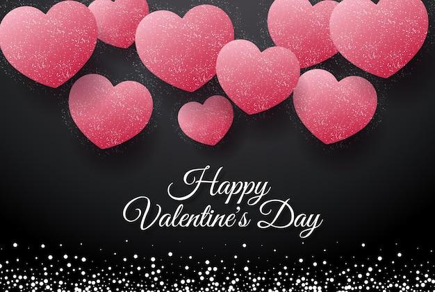 Carte de voeux saint valentin avec coeurs roses