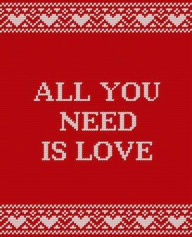 Carte de voeux saint valentin, conception en tricot,