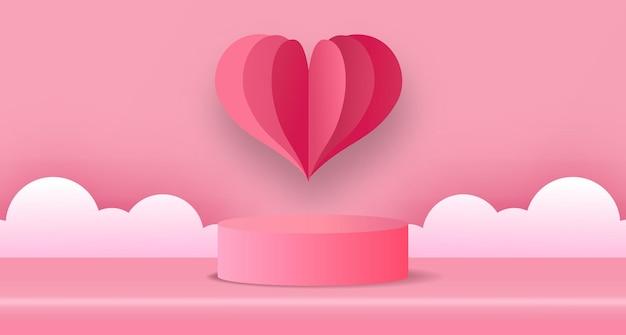 Carte de voeux saint valentin avec cylindre 3d et papier en forme de coeur coupé style avec fond pastel rose tendre