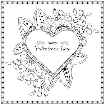 Carte de voeux saint valentin dessinés à la main avec fleur de mehndi. illustration de dessin de main de contour.