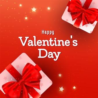 Carte de voeux saint valentin avec des éléments de ballon coeur 3d rose dans l'air sur rouge