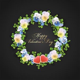 Carte de voeux saint valentin avec fleurs et coeurs